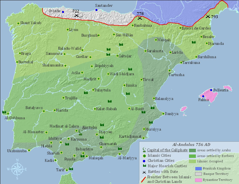 Map Of Spain Under Moorish Rule.Islamic Spain And The Reconquista