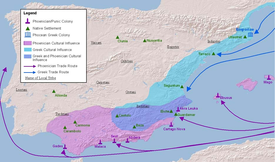 Greek and Phoenician Colonies in Iberia