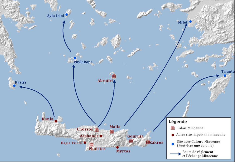 Carte Crete Minoenne.Le Monde Minoen