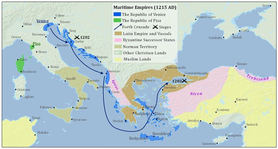 Mapa del imperio veneciano en 1215